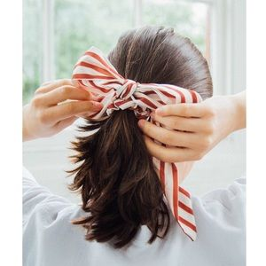 Urban Outfitters White & Red Stripe Scrunchie Bow